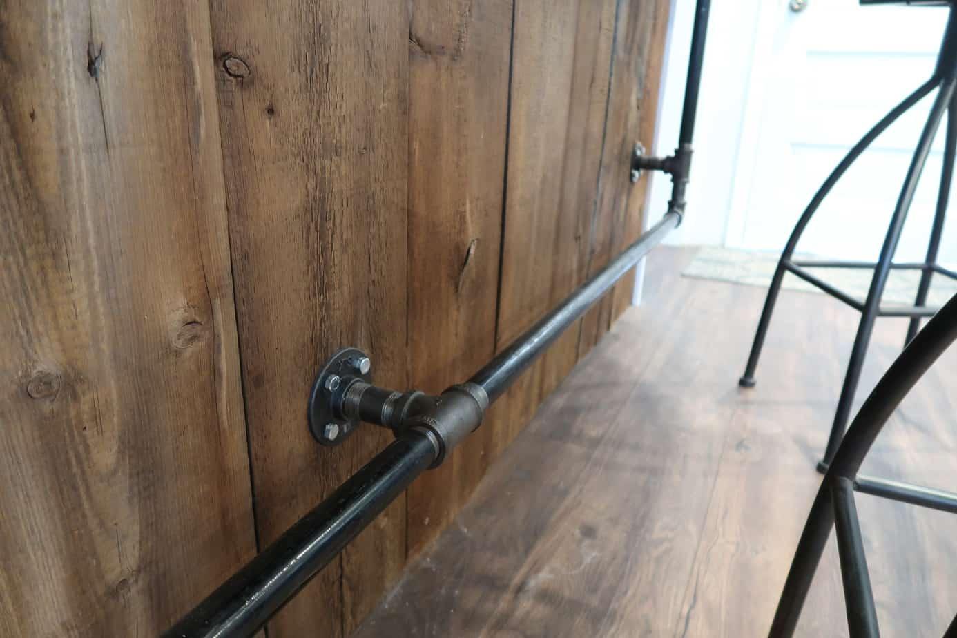 reclaimed barn wood bar wall