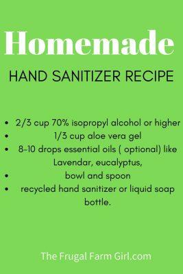 hand sanitzer recipe